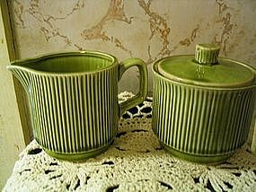 Nasco Sugar and Creamer Avocado Green