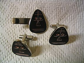 Speidel Tie Clasp and Cufflinks
