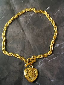 Vintage Heart Toggle Necklace