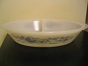 Glasbake Currier and Ives Casserole