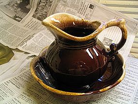 McCoy Brown Drip Bowl and Pitcher