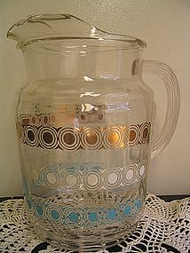 Vintage Turquoise & Gold Pitcher