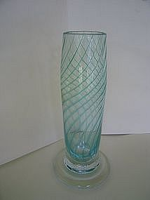 Green Spiral Blown Glass Vase