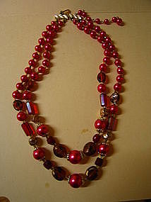 Hot Pink Bead Necklace