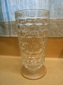 Clear Footed Cubist Glass