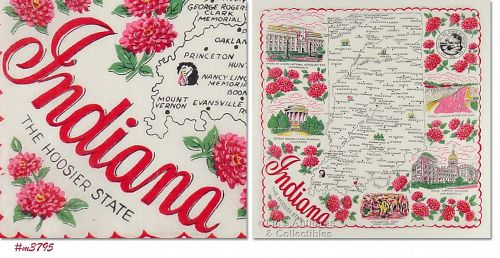 """STATE SOUVENIR HANKY, INDIANA, """"THE HOOSIER STATE"""""""