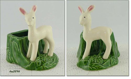 SHAWNEE POTTERY – WHITE FAWN WITH STUMP PLANTER