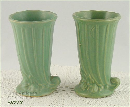 McCOY POTTERY – PAIR OF STONEWARE VASES (MATTE GREEN)