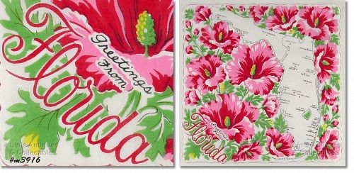 """STATE SOUVENIR HANKY, """"GREETINGS FROM FLORIDA"""""""