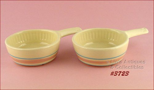 McCOY POTTERY – PINK AND BLUE CASSEROLES (2)