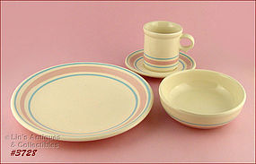 McCOY POTTERY – PINK AND BLUE DINNERWARE FOR 4 (16 PCS)