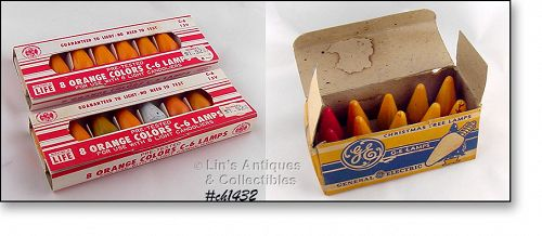VINTAGE LOT OF ASSORTED COLOR C-6 BULBS IN VINTAGE PACKAGES BOXES