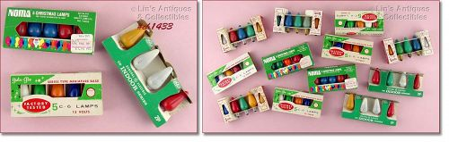 ASSORTED COLORS VINTAGE C-6 CHRISTMAS BULBS IN ORIGINAL BOX / PACKAGE
