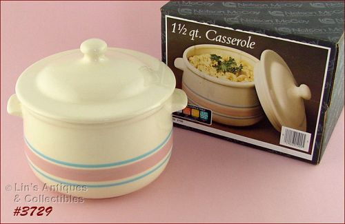 McCOY POTTERY – PINK AND BLUE CASSEROLE (MIB)