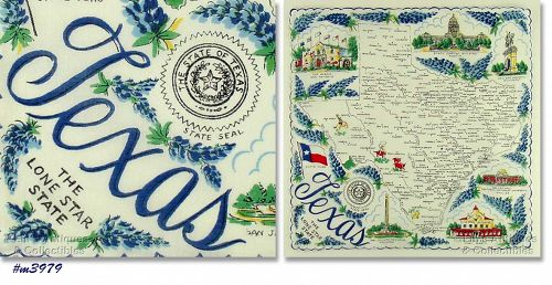 """STATE SOUVENIR HANKY, TEXAS """"THE LONE STAR STATE"""""""
