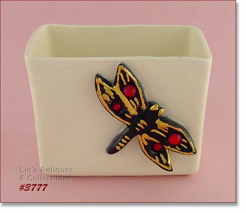 McCOY POTTERY – JEWELED LINE DRAGONFLY PILLOW VASE
