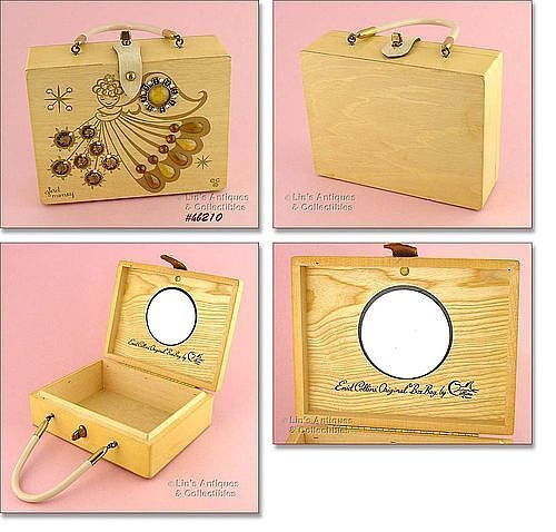 """VINTAGE ENID COLLINS WOODEN BOX BAG """"GLAD MONEY"""" AN ANGEL WITH COINS"""