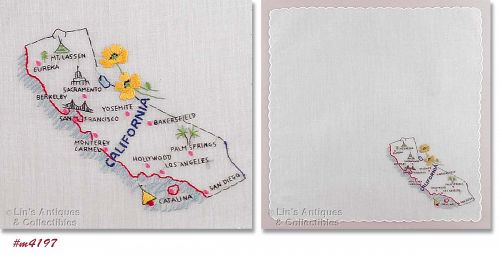 VINTAGE FRANSHAW EMBROIDERED STATE SOUVENIR HANKY, CALIFORNIA