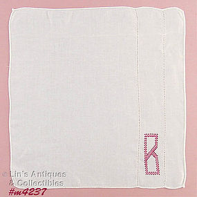 "CROSS-STITCHED ""B"" MONOGRAM HANDKERCHIEF"