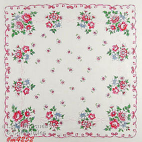 PINK FLOWERS AND PINK RIBBONS HANDKERCHIEF