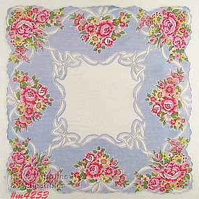 PINK FLOWERS WITH WHITE RIBBONS HANDKERCHIEF