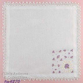 HANKY WITH PURPLE FLOWERS WITH TATTED EDGING