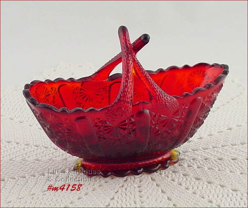 FENTON GLASS – SMALL RED BASKET