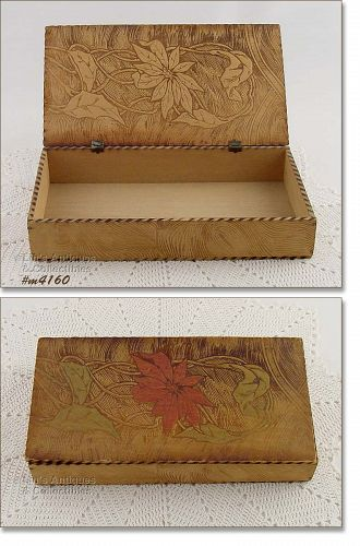 PYROGRAPHY BOX WITH RED POINSETTIA