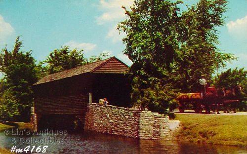 POSTCARD – COVERED BRIDGE, GREENFIELD VILLAGE, DEARBORN