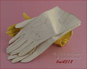 WHITE LEATHER GLOVES (SIZE 6 ½)