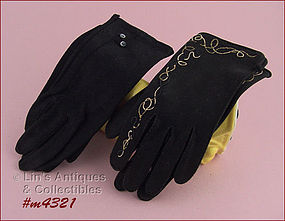 2 PAIRS BLACK GLOVES (SIZE 6 – 6 ½)