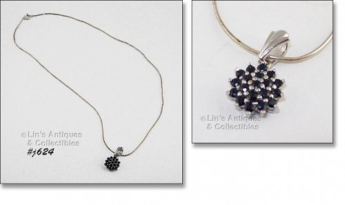 SAPPHIRES PENDANT WITH SILVER CHAIN