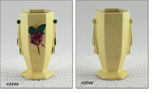 "McCOY POTTERY – VASE WITH APPLIED FLOWER (6"")"
