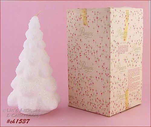 """PARAGON 9"""" WHITE CHRISTMAS TREE CANDLE IN BOX!"""