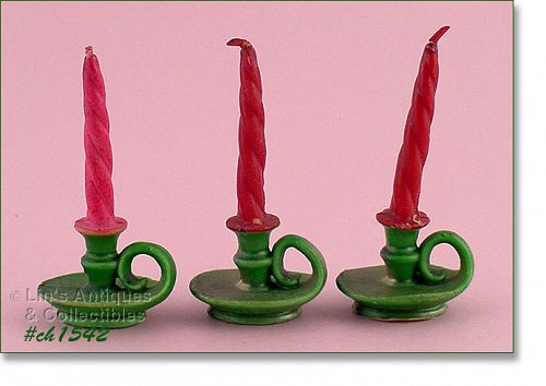 LOT OF 3 GURLEY CHAMBER STYLE VINTAGE CANDLES