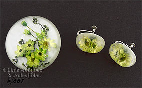 LUCITE PIN AND EARRINGS