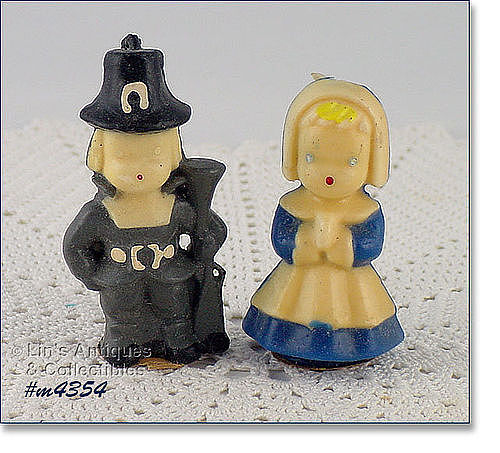 GURLEY CANDLE COMPANY – VINTAGE PILGRIM BOY AND GIRL CANDLES
