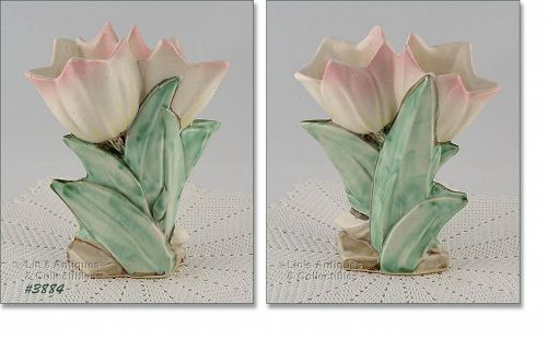 McCOY POTTERY – TULIP VASE WITH PASTEL PINK TIPS