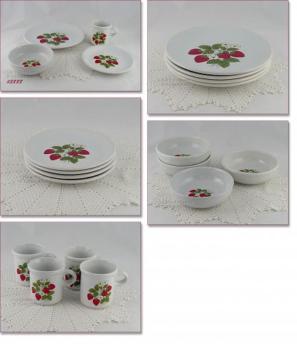 McCOY POTTERY – STRAWBERRY COUNTRY DINNERWARE (FOR 4)