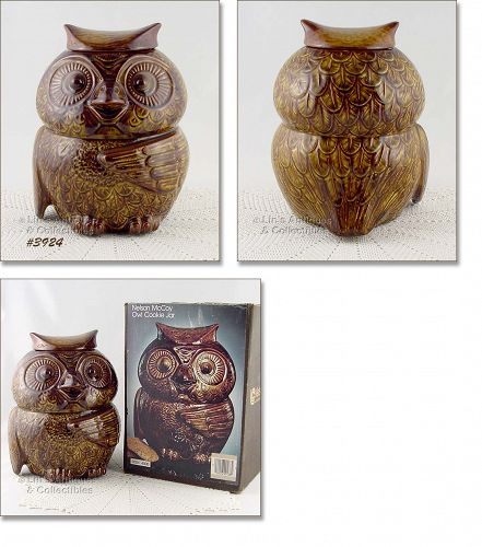 McCOY POTTERY – OWL COOKIE JAR MINT IN ORIGINAL BOX