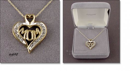 """1/4 CT(.25) 10 KT YELLOW GOLD DIAMOND """"MOM"""" NECKLACE"""