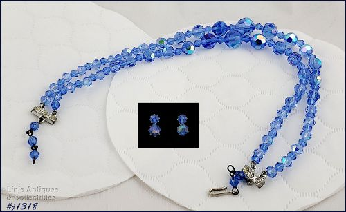 vintage glass necklace and earrings