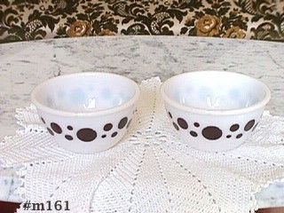 "ViNTAGE GLASSWARE -- SET OF TWO BROWN ""DOTS"