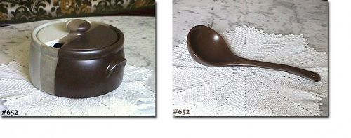 McCOY POTTERY -- SANDSTONE SOUP TUREEN WITH LADLE