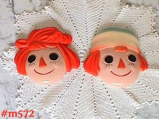 VINTAGE RAGGEDY ANN AND ANDY CHALK PLAQUES BY MILLER STUDIOS