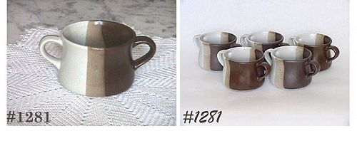 McCOY POTTERY -- SIX SANDSTONE SOUP BOWLS WITH TWO HANDLES