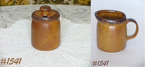 McCOY POTTERY -- CANYON CREAMER AND SUGAR WITH LID