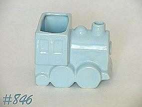 SHAWNEE POTTERY -- TRAIN ENGINE PLANTER (BLUE)