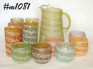 VINTAGE GLASSWARE PITCHER WITH 6 TUMBLERS AND 6 JUICES