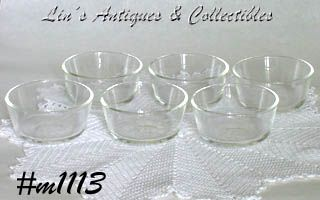 FIRE-KING SET OF 6 CLEAR GLASS CUSTARDS OR INDIVIDUAL SALSA BOWLS